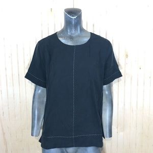 Just Female Medium Black Alba Blouse White Stitch